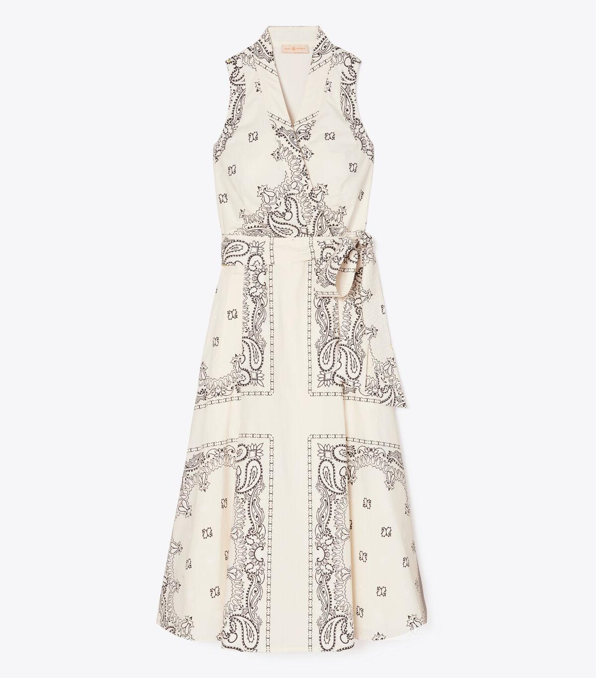 Printed Poplin Wrap Dress