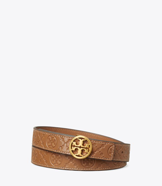 T MONOGRAM LEATHER BELT