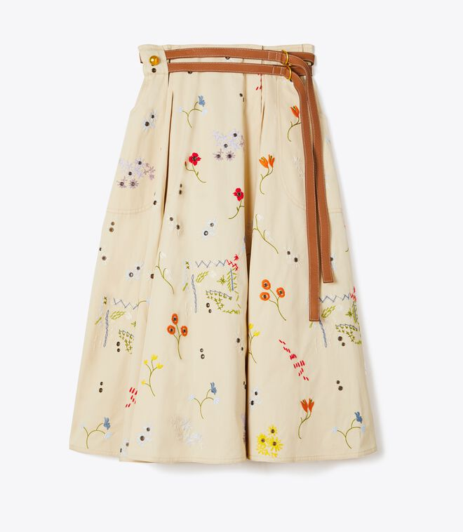 EMBROIDERED PLEATED SKIRT