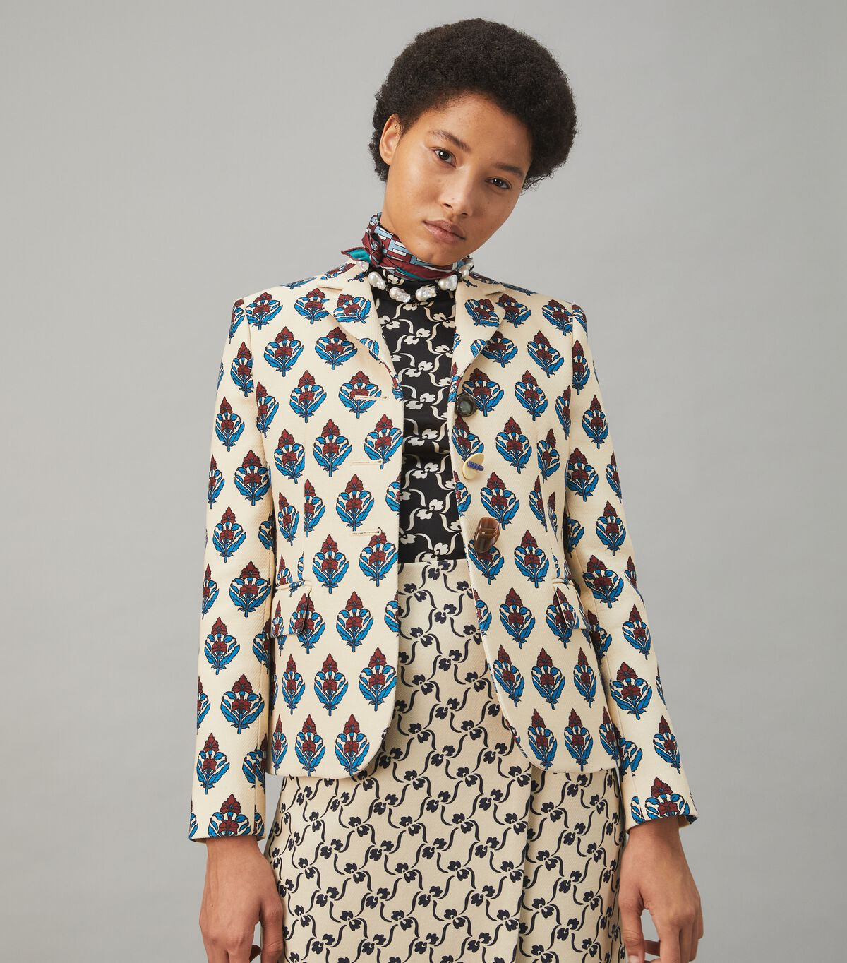 Multi-Button Twill Crepe Jacket