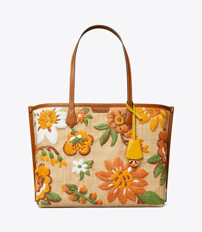 PERRY EMBROIDERED STRAW TRIPLE-COMPARTMENT TOTE