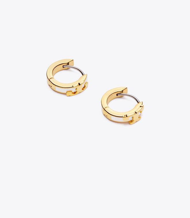Serif-T Enameled Huggie Hoop Earring