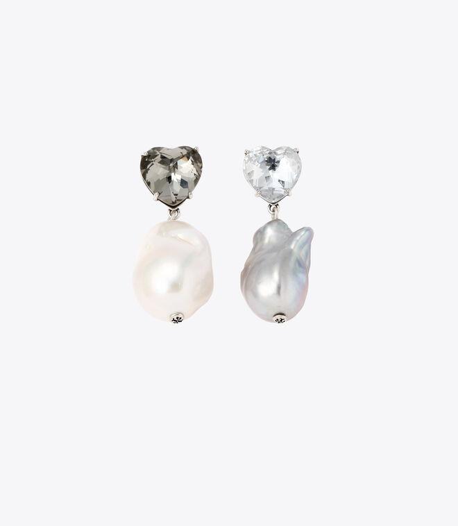 CRYSTAL HEART AND PEARL DROP EARRING | 022 | Drop Earring