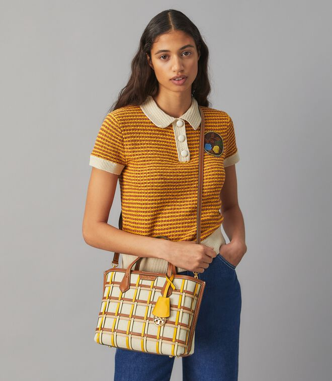 Perry Woven Cage Small Triple-Compartment Tote Bag