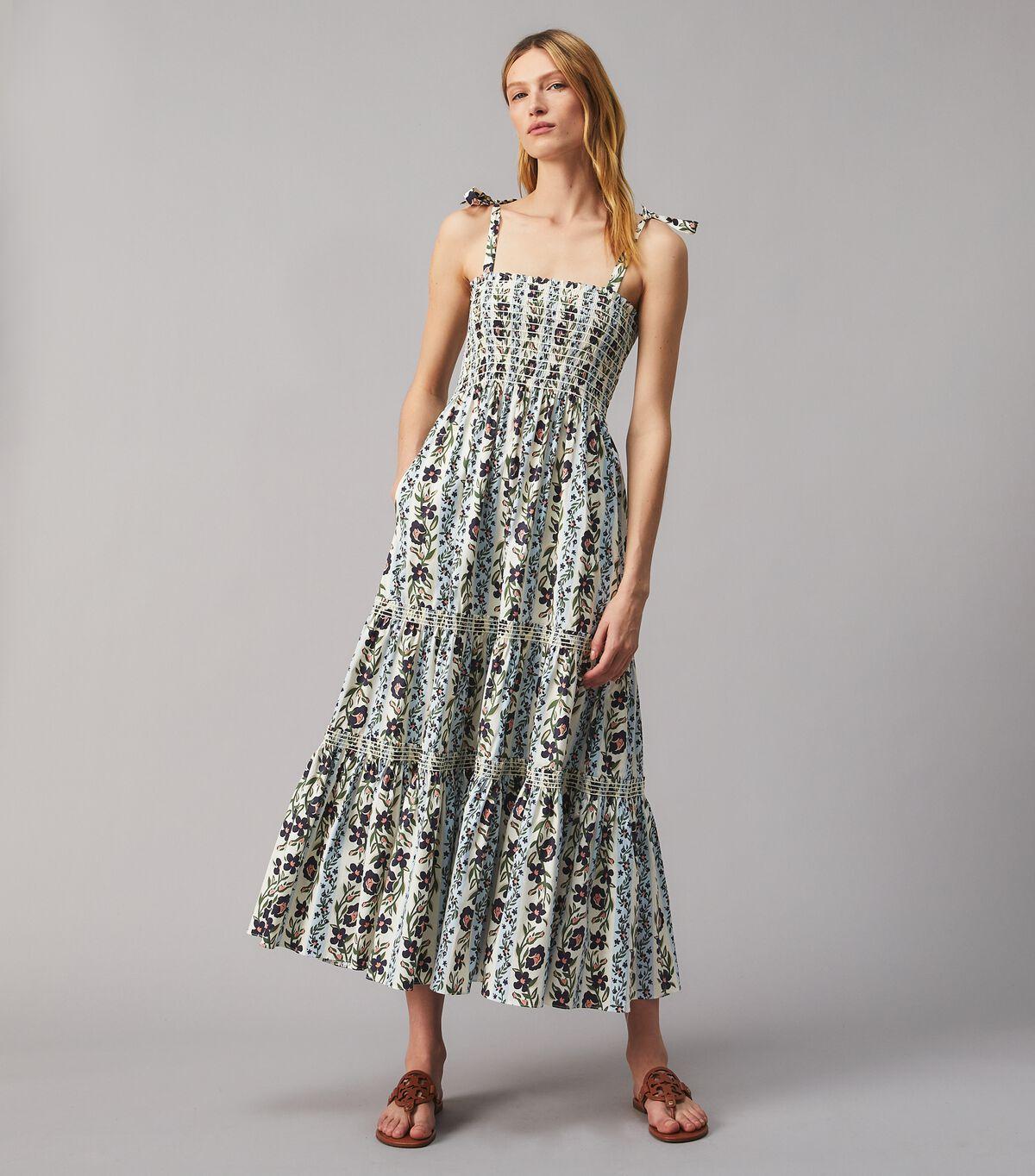 PRINTED TIE-SHOULDER DRESS