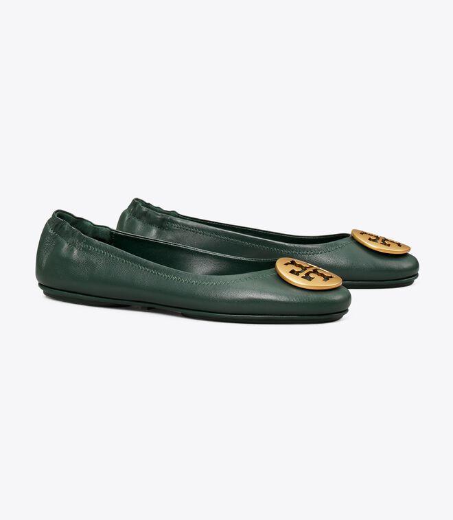 حذاء باليه مسطح للسفر من ميني ، جلد