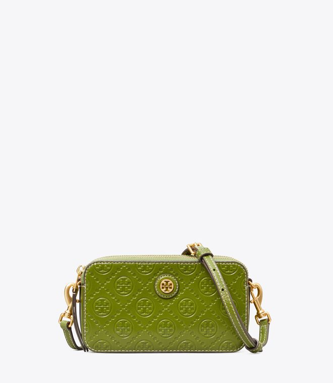T MONOGRAM LEATHER DOUBLE-ZIP MINI BAG