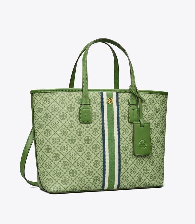 T Monogram Coated Canvas Small Tote Bag