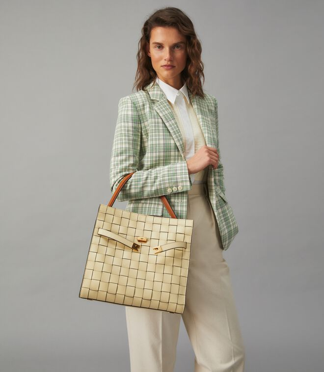 LEE RADZIWILL WOVEN DOUBLE BAG