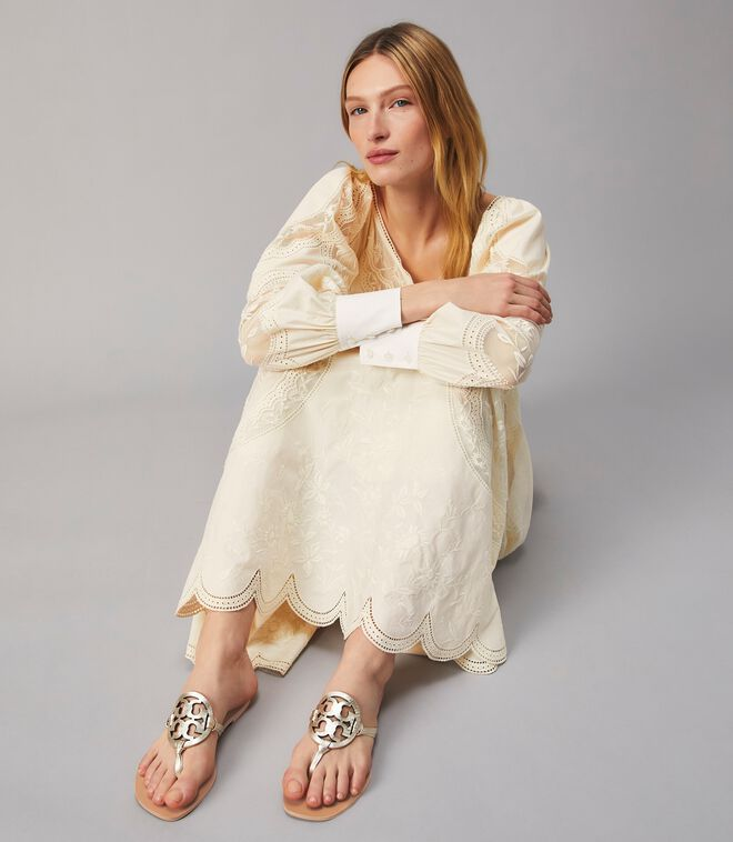 EMBROIDERED POPLIN GOWN