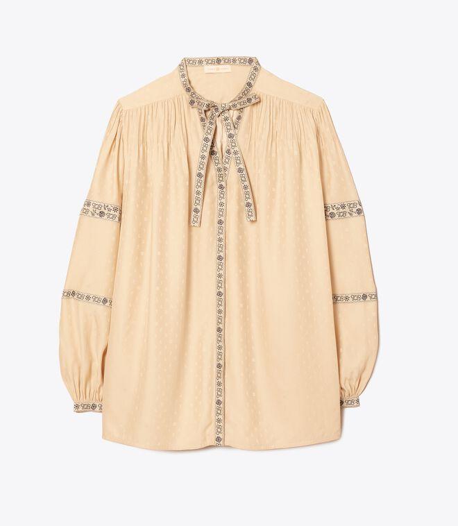 Silk Jacquard Ribbon Blouse