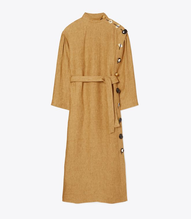 Multi-Button Linen Dress
