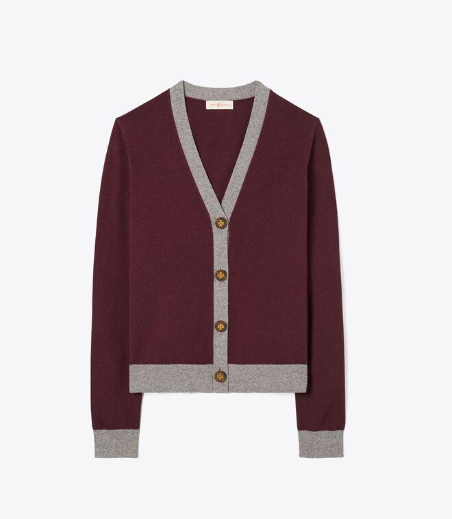 Color-Block Cashmere Cardigan