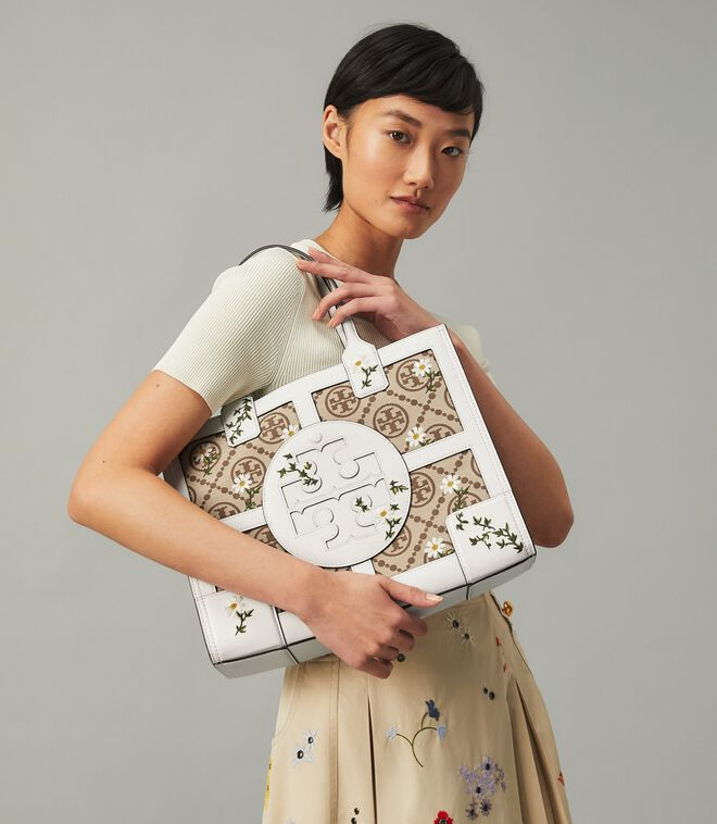 ELLA JACQUARD EMBROIDERED QUADRANT MINI TOTE